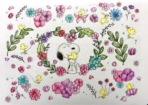 スヌーピー塗り絵①ポリクロモスで 楽しいコロリアージュ生活大人の
