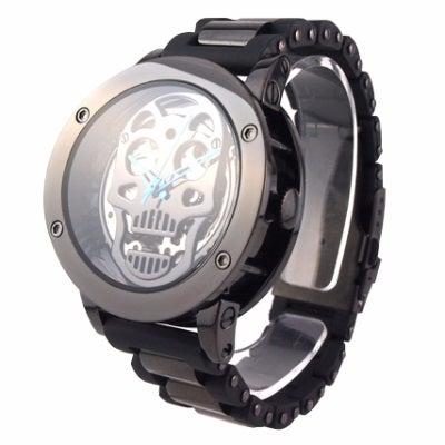 スケルトンスカル自動巻き時計 カラー / 本体:ブラック × ベルト :ブラック