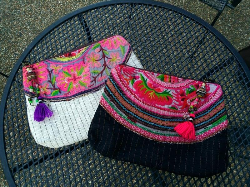 モン族手刺繡ヘンプバッグ クラッチ
