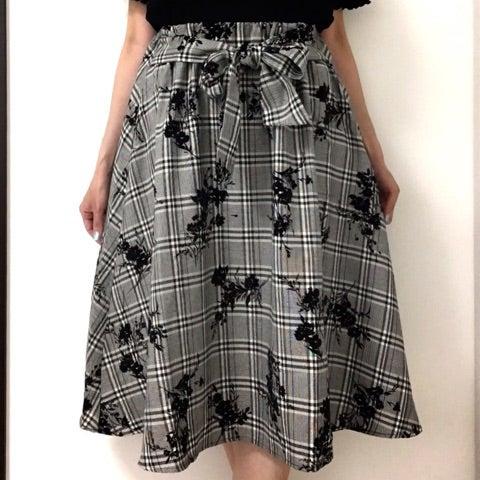 【しまむら購入品】即買いグレンチェック×花柄スカート