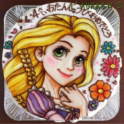 夢見る瞳のプリンセスラプンツェルのイラストケーキ ケーキ店l