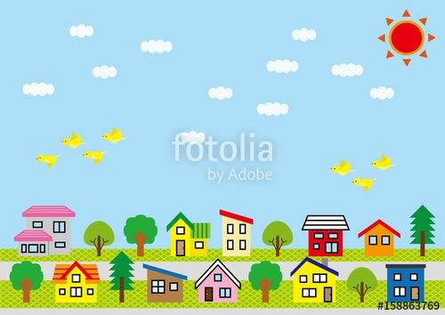 シンプルな家と木の並びの背景イラスト作りました イラストで