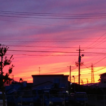 静岡市街 真っ赤な夕…