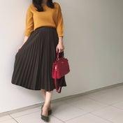しまむらコーデ♡秋にぴったり配色の細プリーツスカート♪