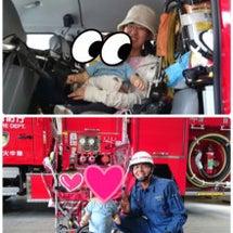 消防車に乗りました^…