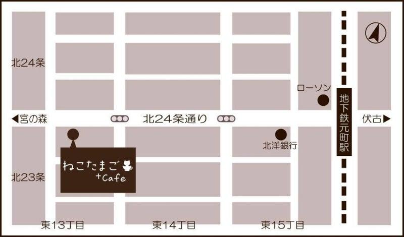 ねこたまご+cafeまでの地図
