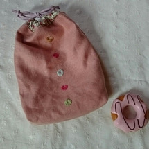 ドーナツ刺繍の巾着