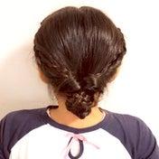 くるりんぱと編み編みまとめ髪❤︎