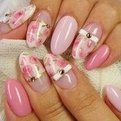 My nail*ローズ白リボン