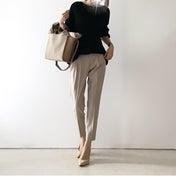 【coordinate】黒を上品に優しくまとめてくれるベージュカラー/タイツとブーツ