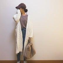 ケーブル編みのロング…