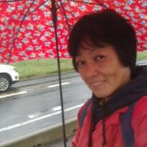 雨の散歩を楽しむ。