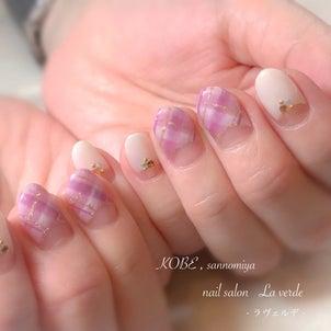 チェック柄の秋ネイル ♡  神戸 三宮 ネイルサロン ラヴェルデの画像