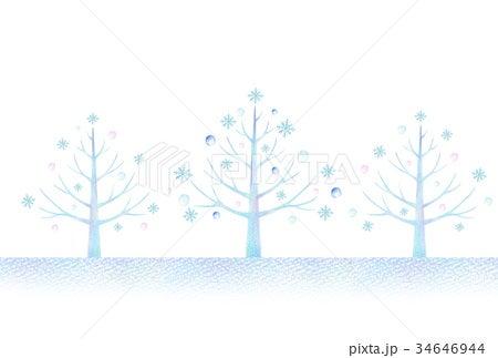 冬の木の風景のイラスト 手描き色鉛筆画イラスト