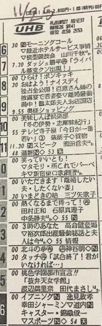 30年前の今日のUHB・北海道文化...