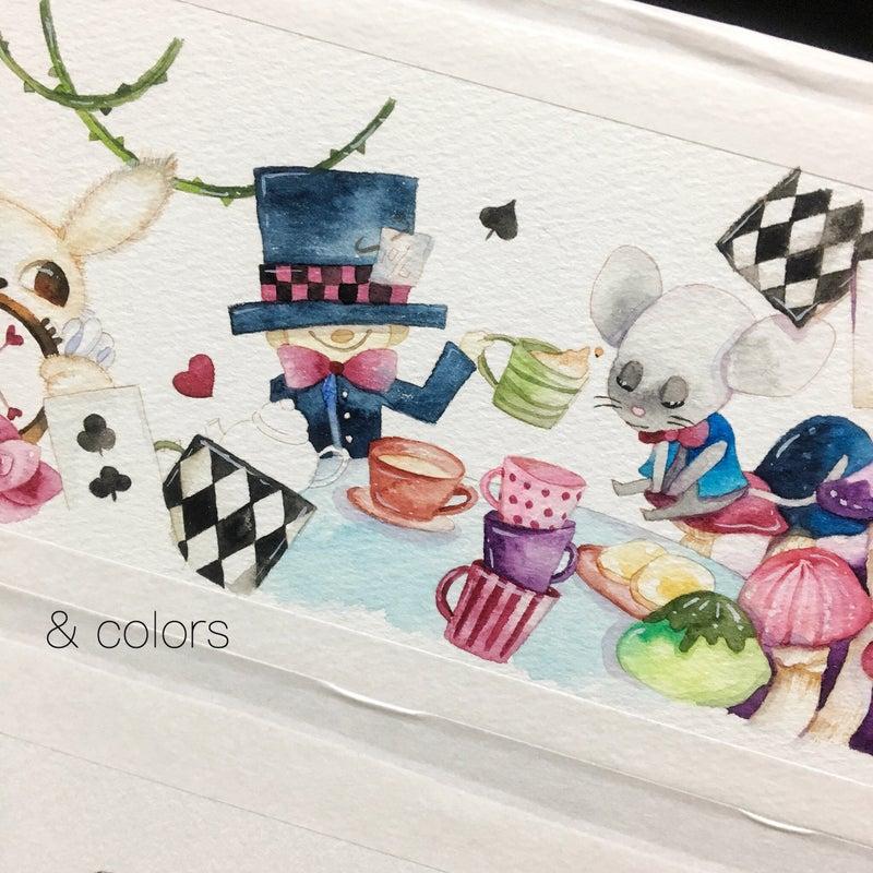 不思議国のアリス 水彩イラスト4 Colors 水彩で描いた紙雑貨