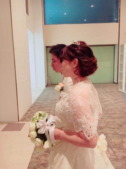 出張ヘアメイク ミルフェリーチェウェディング 赤坂シュビア ボレロ ウェディングドレス