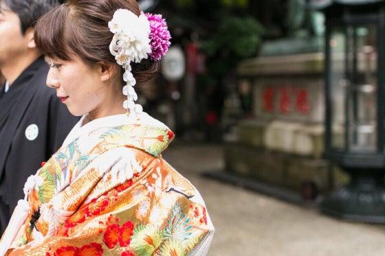 豊川稲荷東京別院 仏前式 出張ヘアメイク ミルフェリーチェウェディング 色打掛
