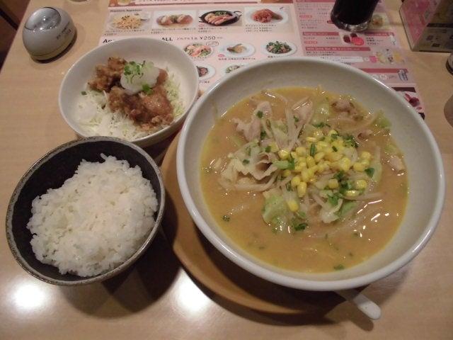 味噌コーンラーメン・若鶏の竜田揚げ・ごはん