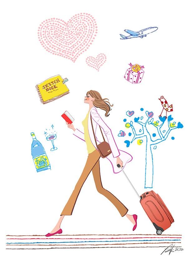 海外旅行,世界一周,女性,観光,ブログヘッダー,ブログデザイン,ホームページ制作,イラスト作成のご依頼