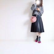 Code♡グレーグラデにピンクを添えて/楽天人気のニットポチ☆*