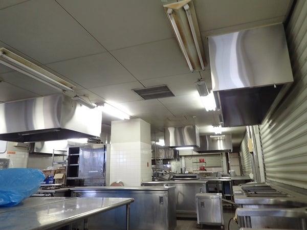 大学厨房内改装工事 壁面塗り替え工事