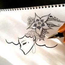 アフロガール描いてい…