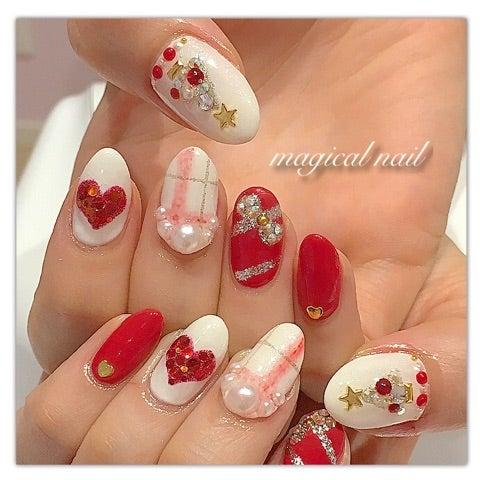 赤と白のクリスマスネイル♡