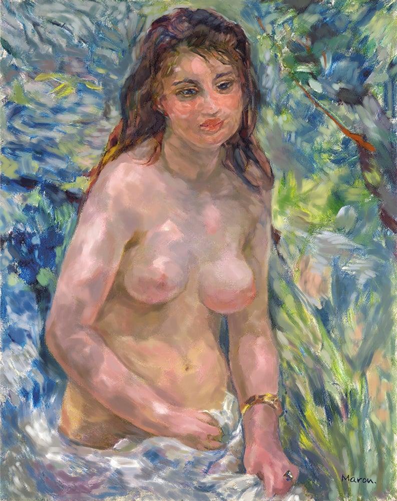 ルノワールの陽光のなかの裸婦の模写