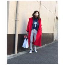 Gジャン重ね着の赤×…