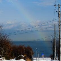 雪道で見た虹