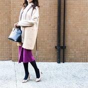 プチプラだけど優秀♡大人ピンクのスカートで冬の華やぎコーデ