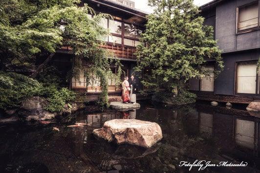 つきじ治作 ウエディングフォト 宴後ロケーションフォト色打掛池 ブライダルフォト 結婚写真
