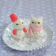 ねこ雪だるまの練り切…