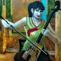 """£---千年夜想曲---馬頭琴を弾く若い女性---£""""F 20号""""油彩画制作の記事に添付されている画像"""