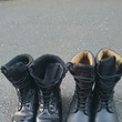 自衛隊式にブーツを磨…