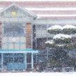 現役木造校舎の雪景色