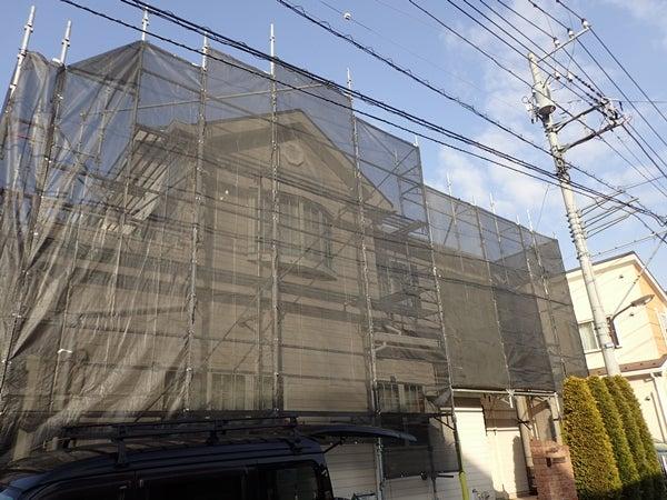 東京都町田市住宅外壁塗装工事中