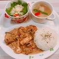 豚肉のポルチーニソース煮と昆布茶のポテトサラダ