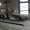 大雪のショッピングセンター