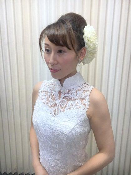 ミルフェリーチェウェディング 出張ヘアメイク 小田原十字町教会 結婚式 夜会巻き チャイナドレス