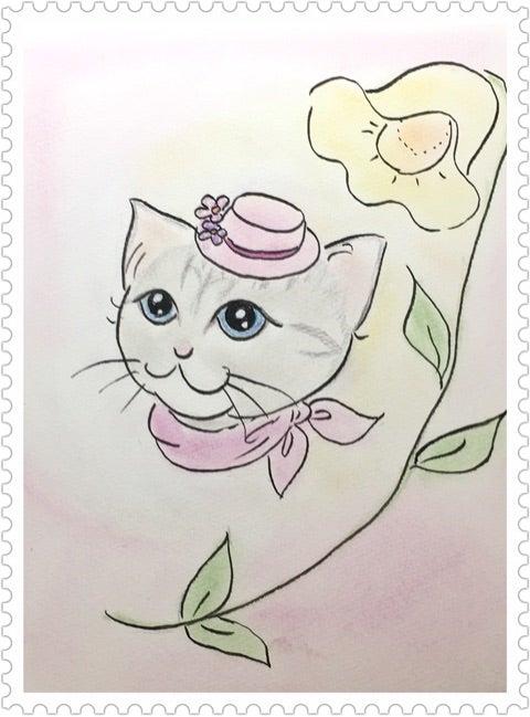 猫イラスト おしゃれ猫 虹色散歩道