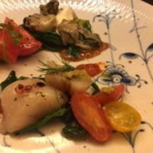 ◼︎前菜の牡蠣と帆立…