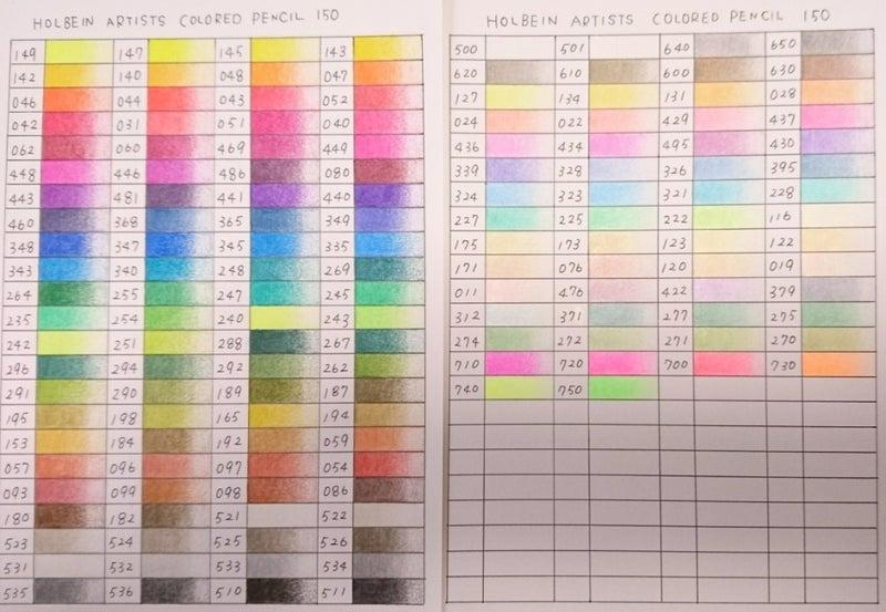 ホルベイン100、カラーチャート作成しました😃 新しい色鉛筆って眺めてるだけ