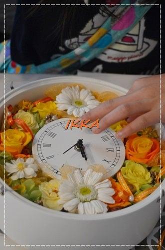 プリザーブドフラワー 花時計 オレンジ