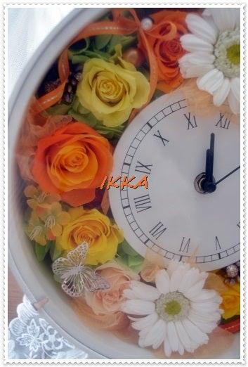 プリザーブドフラワー 花時計 ジニア