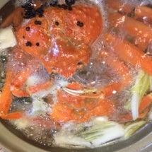 蟹鍋と鬼エビ