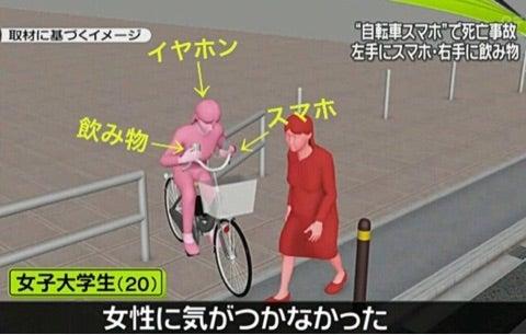 左手にスマホ、右手に飲み物、左耳にイヤホン。自転車で女性を死亡させ ...