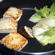 すき焼き鍋で焼き豆腐…