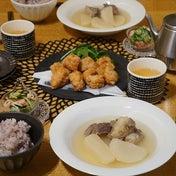 牛肉と大根のスープとマグロの龍田揚げ